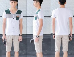 New Men Fashion Short Sleeve V-Neck Casual Slim Patchwork T-Shirt Cndirect bester Fashion-Online-Shop aus China