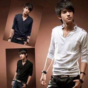 New Fashion Stylish Men Cotton Long Sleeve Stand Collar V Neck T-shirt Cndirect bester Fashion-Online-Shop aus China