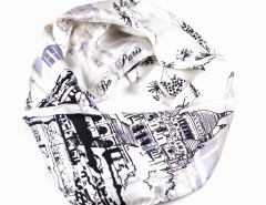 Scarf - Toit de Paris Silk - White Carnet de Mode bester Fashion-Online-Shop