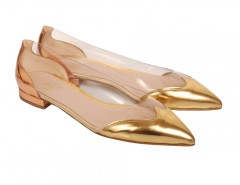 Segolene Gold and Copper Leather and PVC Pointed Ballet Flats Carnet de Mode bester Fashion-Online-Shop