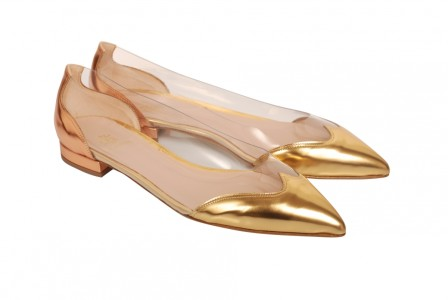 Segolene Gold and Copper Leather and PVC Pointed Ballet Flats Carnet de Mode bester Fashion-Online-Shop
