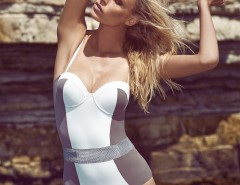 Silicon Belted Halter White and Taupe One-Piece - Carla Carnet de Mode bester Fashion-Online-Shop
