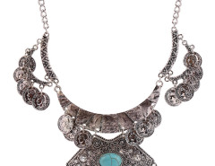 Silver Plated Turquoise Embellished Statement Coin Necklace Choies.com bester Fashion-Online-Shop Großbritannien Europa