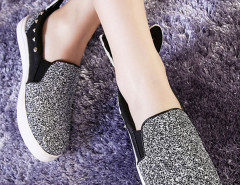 Sliver Sequined Rivet Rabbit Ear Decorated Loafers Choies.com bester Fashion-Online-Shop Großbritannien Europa