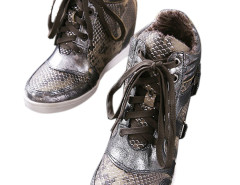 Sliver Snake Effect Lace Up Sneakers Choies.com bester Fashion-Online-Shop Großbritannien Europa