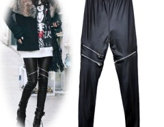 Stylish Women's Girls Black Faux Leather Zip Up Fashion Skinny Pants Leggings Trousers Cndirect bester Fashion-Online-Shop China