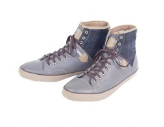 Taupe High Top Sneakers in Leather and Wool - Raymond Carnet de Mode bester Fashion-Online-Shop