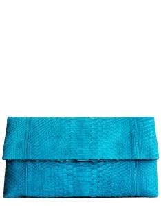 Turquoise Python Leather Clutch - Essentiel Carnet de Mode bester Fashion-Online-Shop