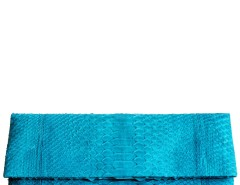 Turquoise Python Leather Clutch - Essentiel Carnet de Mode bester Fashion-Online-Shop