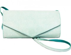 Turquoise Suede and White Caviar Leather Clutch Carnet de Mode bester Fashion-Online-Shop