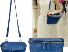 Vintage Style Women's Blue Double Zipper Head Cross Bag Shoulder Handbag Purse Bag Cndirect bester Fashion-Online-Shop China