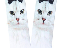 White 3D Cute Bowtied Cat Print Ankle Socks Choies.com bester Fashion-Online-Shop Großbritannien Europa