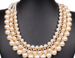 White Bead Faux Pearl Statement Chain Necklace Choies.com bester Fashion-Online-Shop Großbritannien Europa