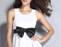 White Bowknot Detail Peplum Vest Choies.com bester Fashion-Online-Shop Großbritannien Europa