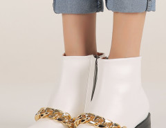 White Chunky Chain Zip Ankle Boots Choies.com bester Fashion-Online-Shop Großbritannien Europa