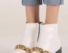 White Chunky Chain Zip Ankle Boots Choies.com bester Fashion-Online-Shop Großbritannien Europa