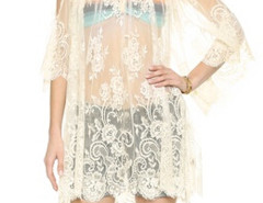 White Cold Shoulder Flare Sleeve Sheer Lace Beach Dress-top Choies.com bester Fashion-Online-Shop Großbritannien Europa