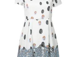 White Contrast Coin And Graffiti Print Dress Choies.com bester Fashion-Online-Shop Großbritannien Europa