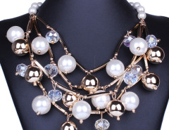 White Crystal Bead Faux Pearl Statement Necklace Choies.com bester Fashion-Online-Shop Großbritannien Europa