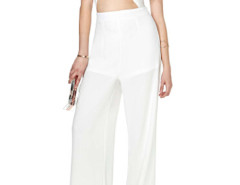 White Cut Out Detail Wrap Palazzo Jumpsuit Choies.com bester Fashion-Online-Shop Großbritannien Europa