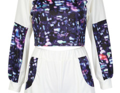 White Dye Print Crop Top And Elastic Waist Shorts Choies.com bester Fashion-Online-Shop Großbritannien Europa