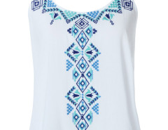 White Embroidery Pattern Strap Back Dipped Vest Choies.com bester Fashion-Online-Shop Großbritannien Europa