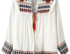 White Floral Embroidery Tassel Tie Front Ruched Cardigan Choies.com bester Fashion-Online-Shop Großbritannien Europa
