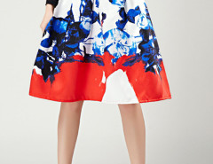 White Floral Print Pleats High Waist Skirt Choies.com bester Fashion-Online-Shop Großbritannien Europa