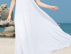 White Geo Pattern Cut Out Sleeveless Pleated Beach Dress Choies.com bester Fashion-Online-Shop Großbritannien Europa
