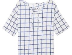 White Grid Print Keyhole Front Short Sleeve Blouse Choies.com bester Fashion-Online-Shop Großbritannien Europa