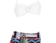 White Halter Cupped Bikini Top And Geo Pattern High Waist Bottom Choies.com bester Fashion-Online-Shop Großbritannien Europa