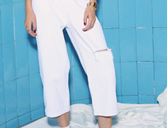 White High Waist Ripped Knee Wide Leg Ankle Jeans Choies.com bester Fashion-Online-Shop Großbritannien Europa