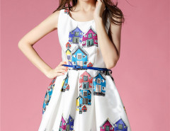 White House Print Sleeveless Belt Waist Skater Midi Dress Choies.com bester Fashion-Online-Shop Großbritannien Europa