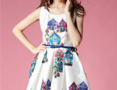 White House Print Sleeveless Belt Waist Skater Midi Dress Choies.com bester Fashion-Online-Shop Großbritannien Europa
