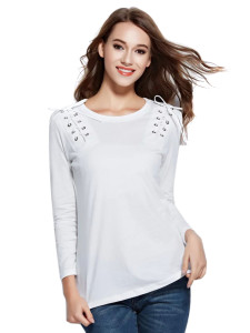 White Lace Up Detail Long Sleeve T-shirt Choies.com bester Fashion-Online-Shop Großbritannien Europa