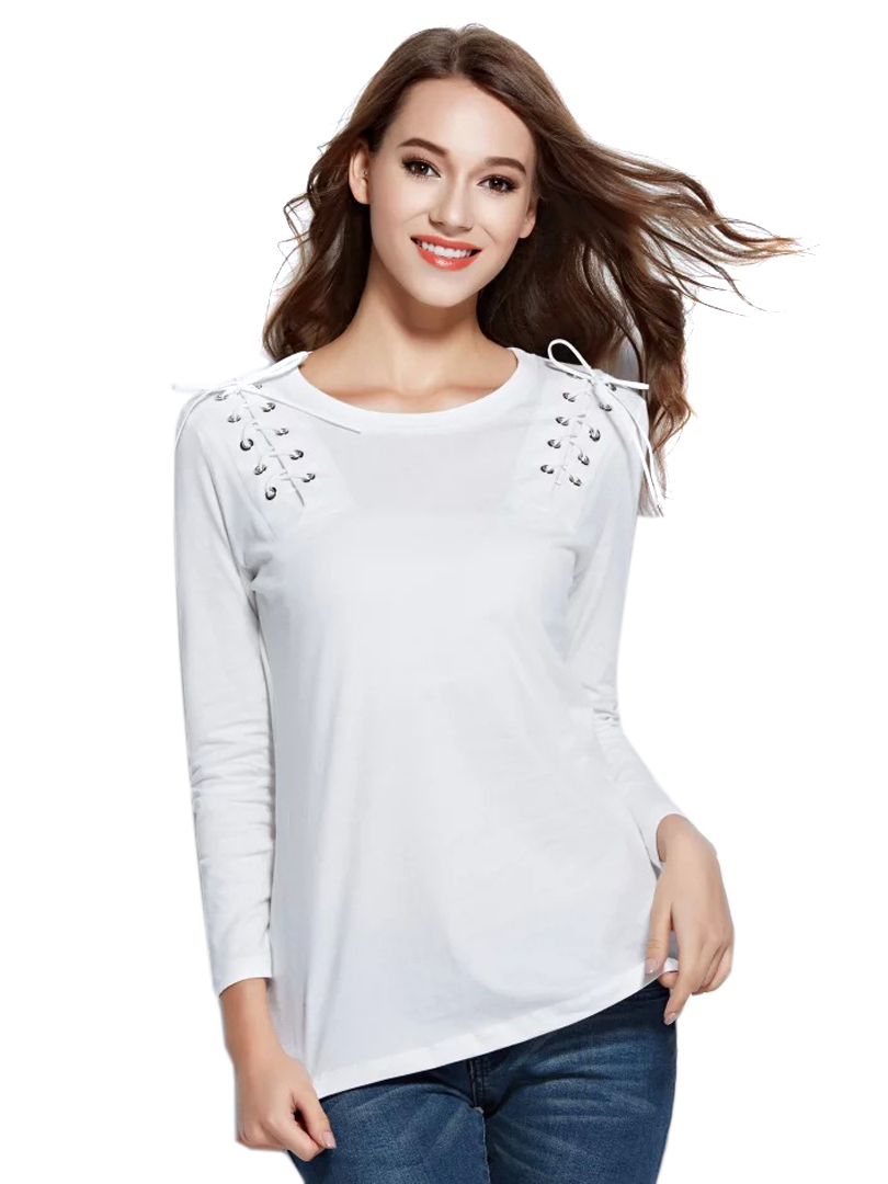 1c1ffe9ee75788 White Lace Up Detail Long Sleeve T-shirt Choies.com bester Fashion-Online