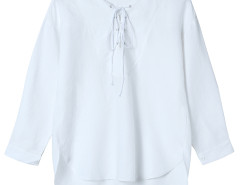 White Lace Up Front 3/4 Sleeve Dipped Back Blouse Choies.com bester Fashion-Online-Shop Großbritannien Europa