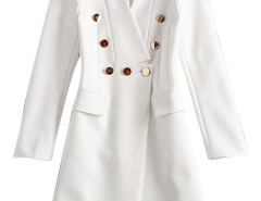 White Lapel Button Embellished Pocket Detail Longline Blazer Choies.com bester Fashion-Online-Shop Großbritannien Europa
