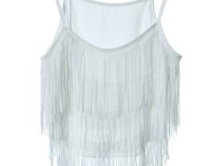 White Layer Tassel Transparent Cami Crop Vest Choies.com bester Fashion-Online-Shop Großbritannien Europa