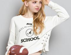 White Letter Print Long Sleeve Lace Up Sweatshirt Choies.com bester Fashion-Online-Shop Großbritannien Europa
