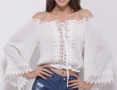 White Off Shoulder Crochet Lace Up Flare Sleeve Crop Top Choies.com bester Fashion-Online-Shop Großbritannien Europa