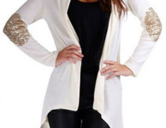 White Patch Elbow Sequin Detail Long Sleeve Waterfall Cardigan Choies.com bester Fashion-Online-Shop Großbritannien Europa