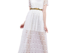 White Sheer Stand Collar Short Sleeve Waist Belt Lace Prom Dress Choies.com bester Fashion-Online-Shop Großbritannien Europa