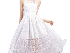 White Sheer Tulle Panel Cut Away Lace A-line Prom Dress Choies.com bester Fashion-Online-Shop Großbritannien Europa