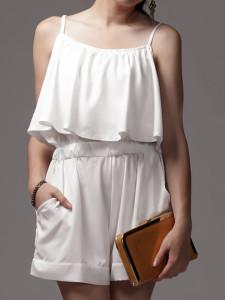 White Spaghetti Strap Ruffle Pocket Romper Playsuit Choies.com bester Fashion-Online-Shop Großbritannien Europa