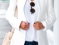 White Stand Collar Long Sleeve Slim Blazer Choies.com bester Fashion-Online-Shop Großbritannien Europa