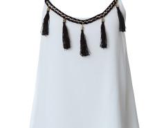 White Tassel Detail Layer Cami Vest Choies.com bester Fashion-Online-Shop Großbritannien Europa
