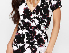 White V Neck Floral Print Wrap Romper Playsuit Choies.com bester Fashion-Online-Shop Großbritannien Europa