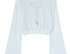 White V Neck Tie Front Flare Long Sleeve Lace Detail Blouse Choies.com bester Fashion-Online-Shop Großbritannien Europa