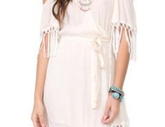 White V Neck Wrap Front Cold Shoulder Fringe Trim Dress Choies.com bester Fashion-Online-Shop Großbritannien Europa
